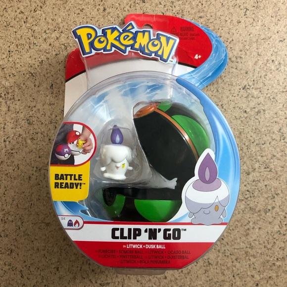 New POKEMON Clip N Go Litwick + Dusk Ball toy